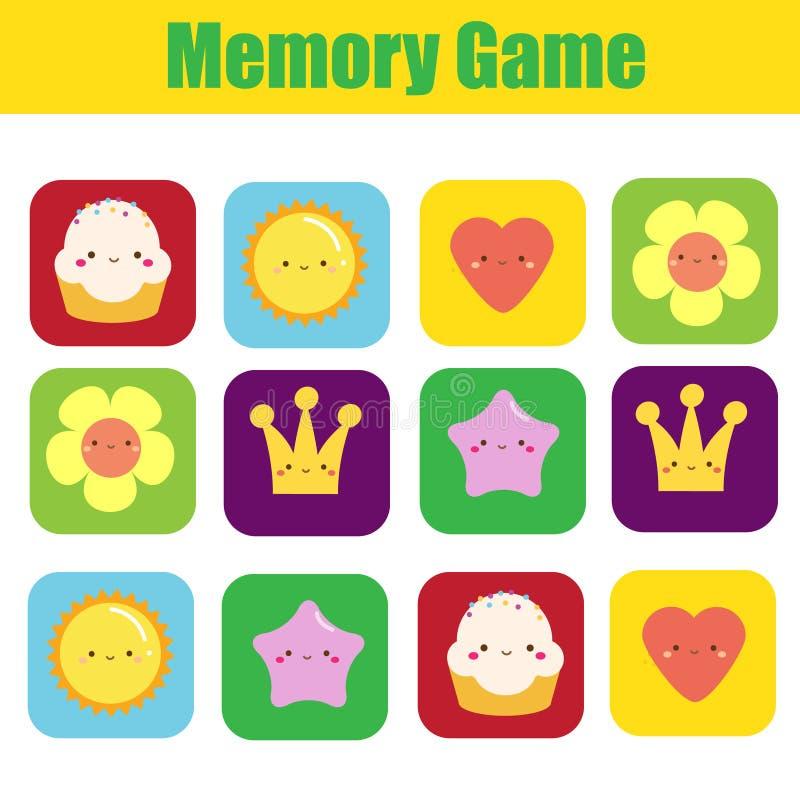 Игра памяти для малышей с милыми символами Образовательная деятельность для детей и детей иллюстрация штока