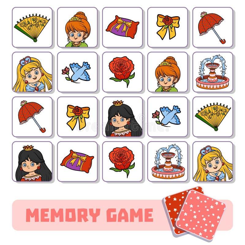 Игра памяти для детей, карточек вектора с принцессой и деталей иллюстрация штока
