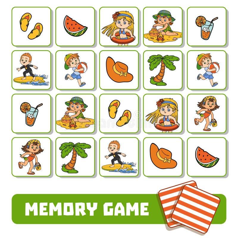 Игра памяти для детей, карточек с детьми лета и объектов иллюстрация вектора