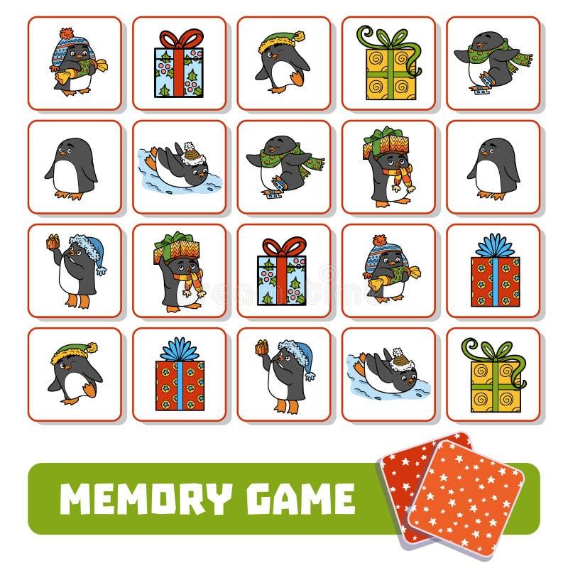 Игра памяти для детей, карточек с пингвинами и подарков иллюстрация вектора