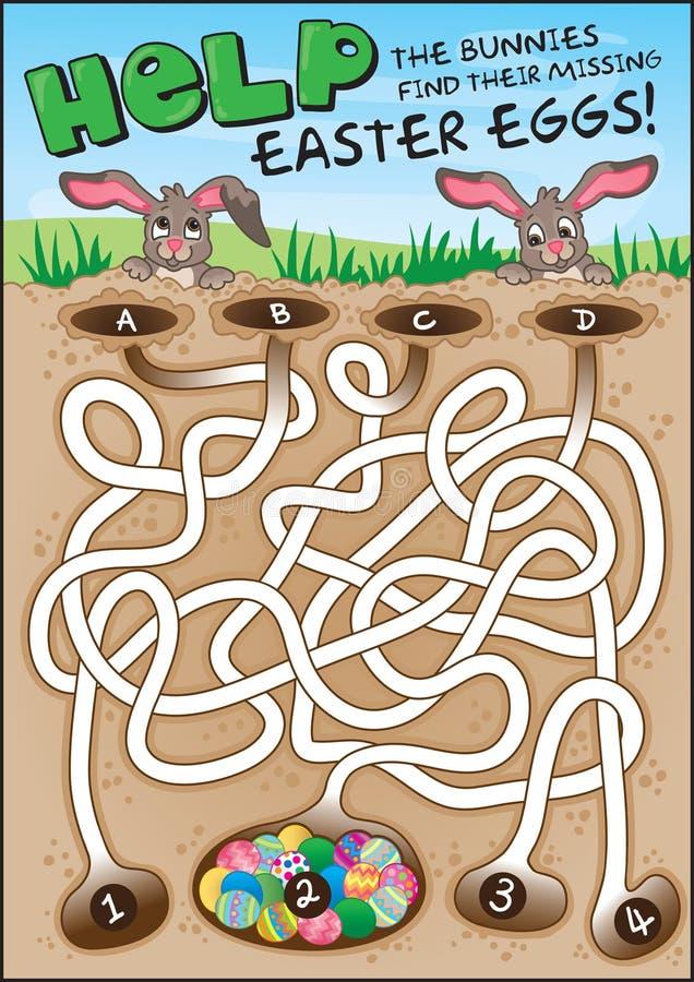 Лабиринт зайчика пасхи для малышей! иллюстрация вектора