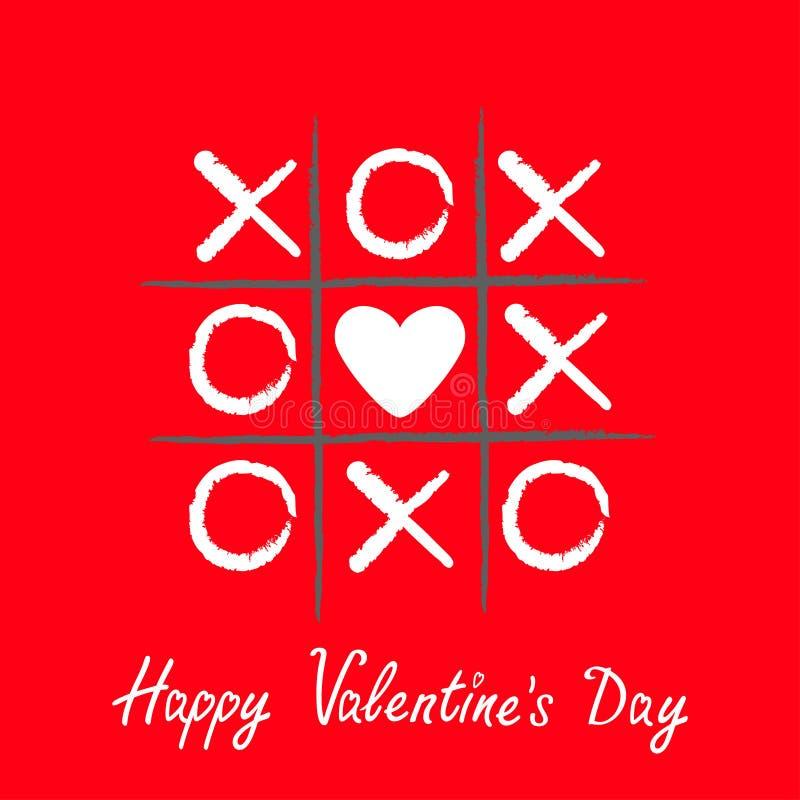 Игра пальца ноги Tic tac с крестом criss и белое сердце подписывают метку XOXO Щетка нарисованная рукой Линия Doodle Счастливая к иллюстрация вектора