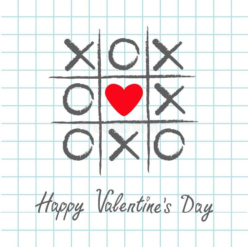 Игра пальца ноги Tic tac с крестом criss и красное сердце подписывают метку XOXO Нарисованная рукой щетка ручки Линия Doodle Счас иллюстрация штока