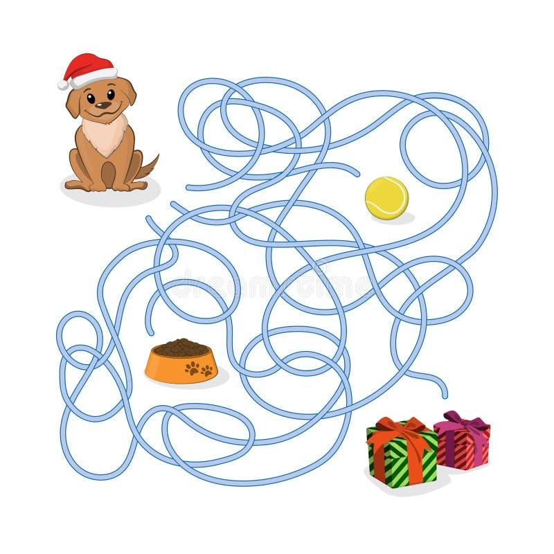 Игра пути рождества Помогите щенку пройти лабиринт Собака в шляпе Санты в лабиринте Символ 2018 Новых Годов иллюстрация вектора