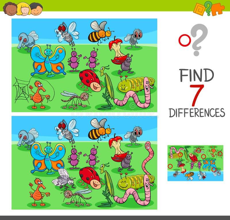 Игра разницах в находки с животными насекомого иллюстрация штока
