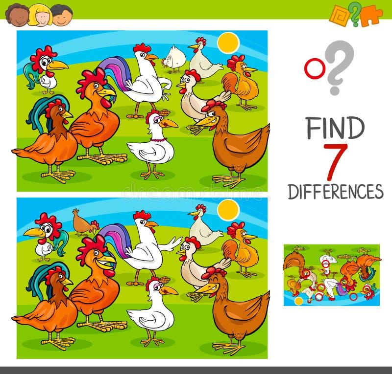 Игра разницах в находки с характерами животного цыплят иллюстрация вектора