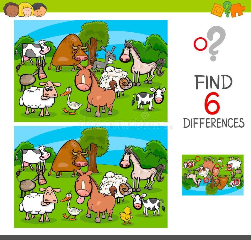Игра разниц с характерами животноводческой фермы иллюстрация вектора
