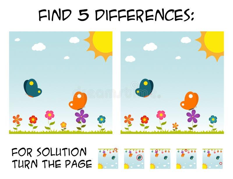 Игра ребенка - найдите 5 разниц в изображениях с естественной темой иллюстрация штока