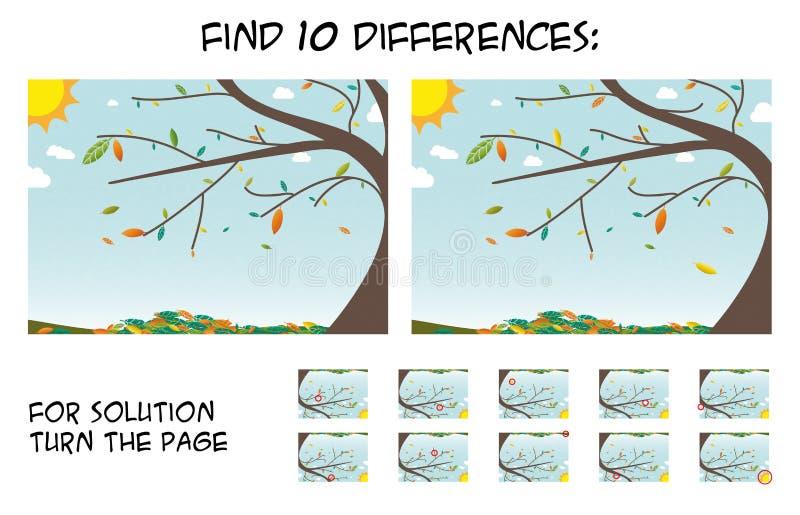 Игра ребенка - найдите 10 разниц в изображениях с Ла дерева осени иллюстрация штока