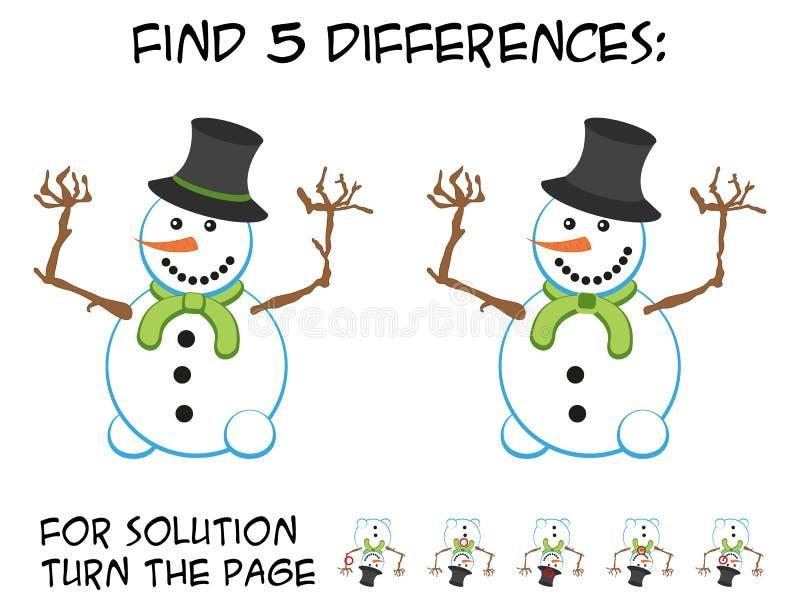 Игра ребенка - найдите 5 разниц в изображениях с милым усмехаясь sn иллюстрация штока