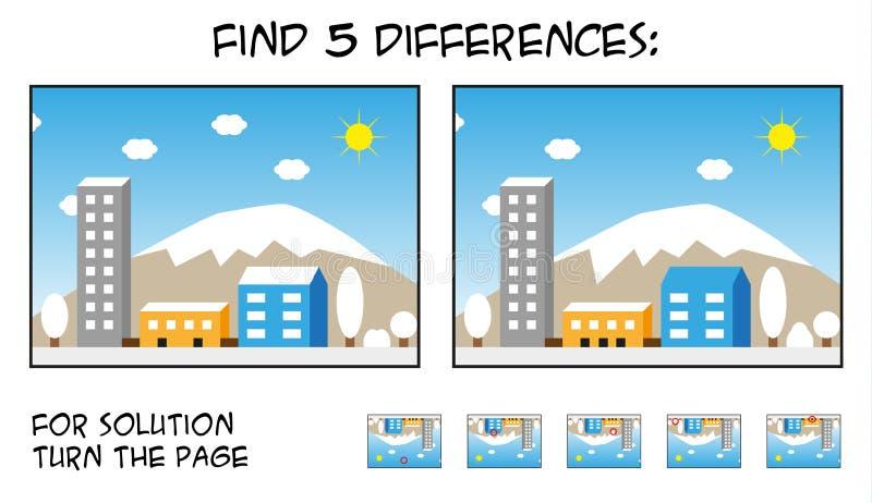 Игра ребенка - разницы в находки 5 в изображениях с ландшафтом города иллюстрация вектора