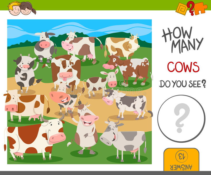 Игра сколько коров иллюстрация вектора