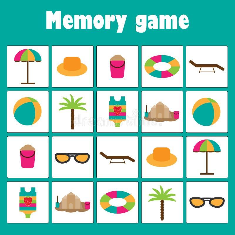Игра с изображениями пляжа лета для детей, игра для детей, preschool деятельность памяти образования потехи xmas, задача для иллюстрация штока
