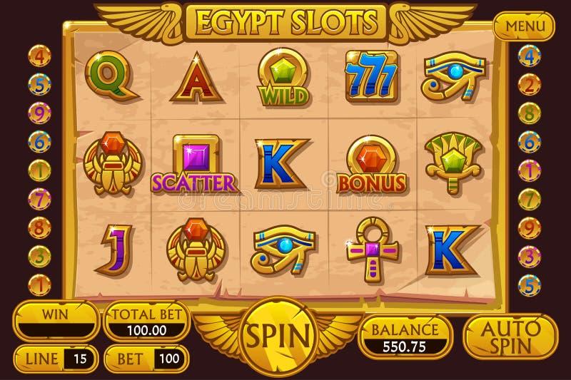 Игра торгового автомата казино стиля ЕГИПТА Полные торговый автомат и кнопки интерфейса на отдельных слоях иллюстрация штока