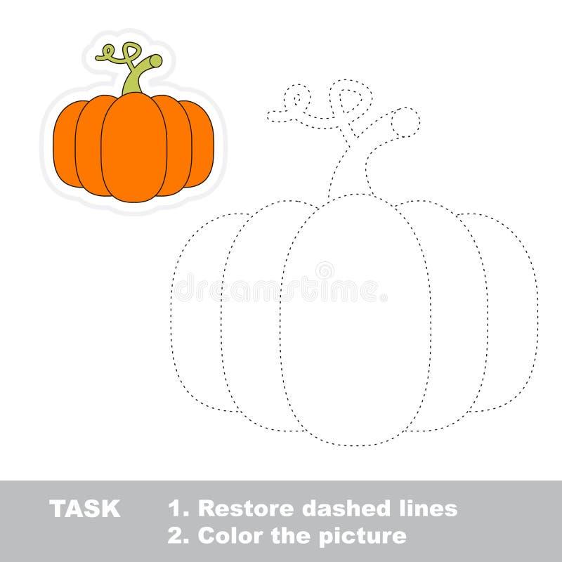 Игра трассировки вектора Оранжевая тыква, который нужно следовать иллюстрация штока
