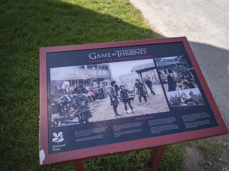Игра тронов снимая палату замка положения для Winterfell в Северной Ирландии - БЕЛФАСТЕ СЕВЕРНАЯ ИРЛАНДИЯ - 12-ОЕ МАЯ стоковые фото