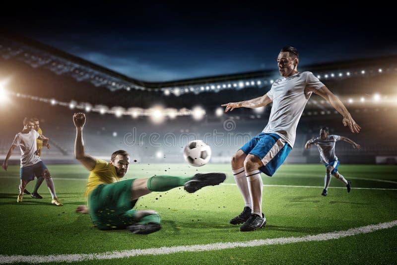 Игра футбола в действии стоковое фото rf
