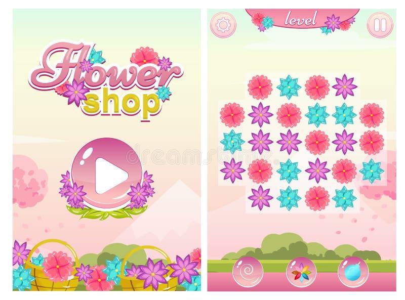 Игра цветочного магазина спички 3 с экраном и полем старта бесплатная иллюстрация