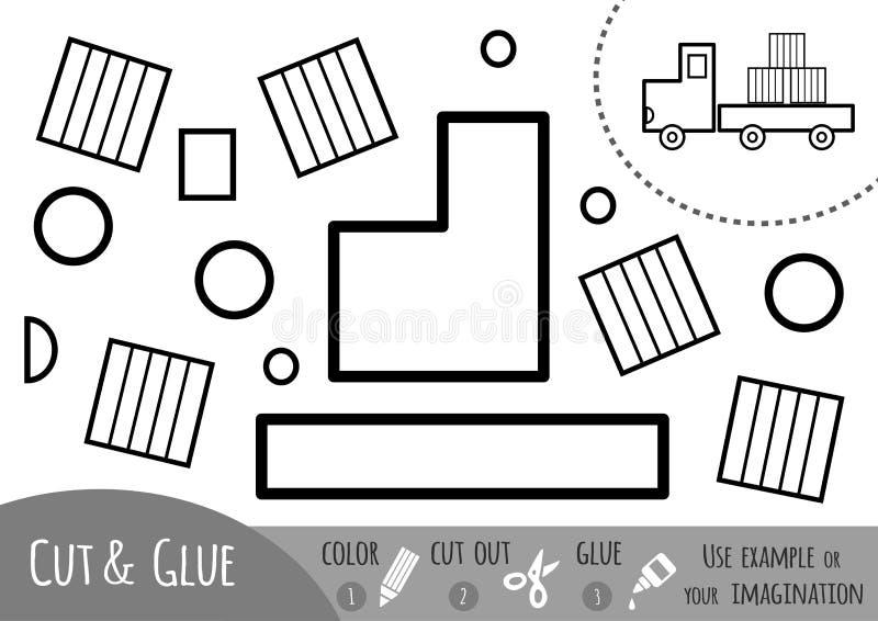 Игра для детей, грузовик образования бумажная иллюстрация штока