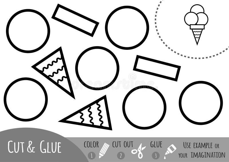 Игра для детей, мороженое образования бумажная иллюстрация вектора