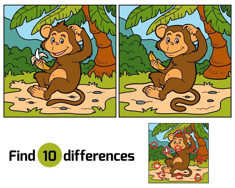 Игра для детей: разницы в находки (маленькая обезьяна) иллюстрация штока