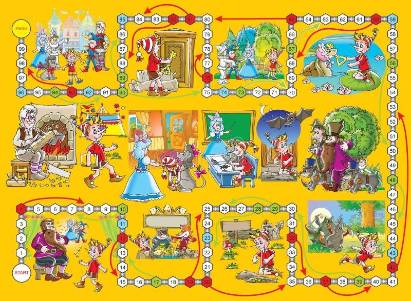 игра buratino доски иллюстрация штока