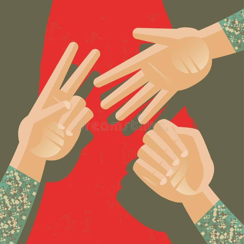 Игра Militar утеса, бумаги и ножниц бесплатная иллюстрация