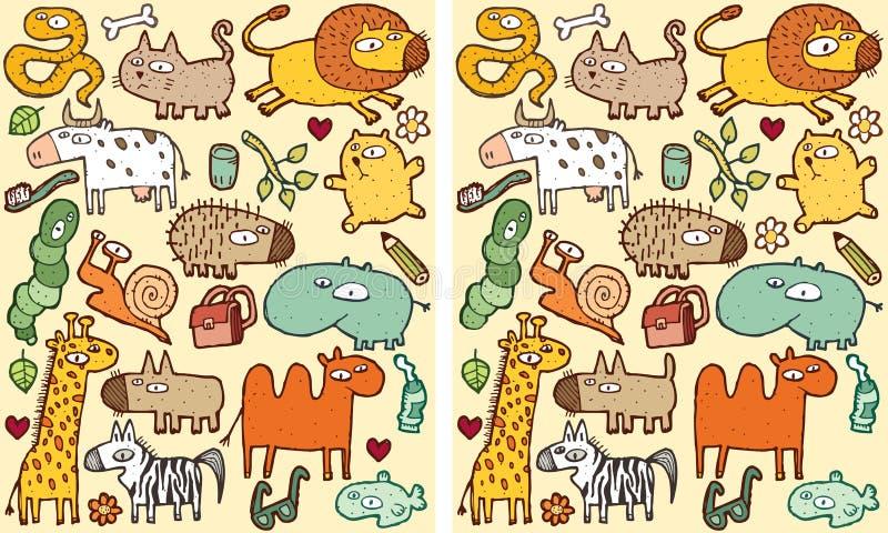 Игра Visual разницах в животных иллюстрация вектора