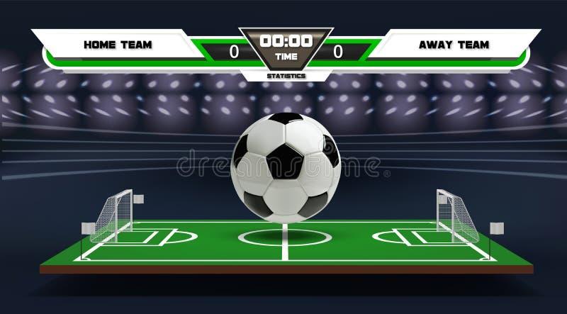 Игровая площадка футбола или футбола с infographic элементами и шариком 3d спорт игры Фара футбольного стадиона и иллюстрация вектора