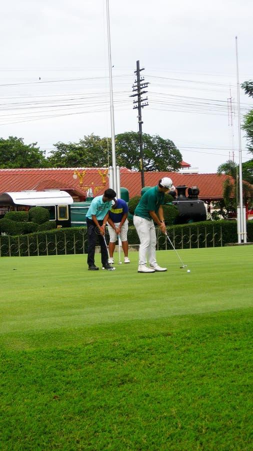 Игроки в гольф разрабатывая удар стоковые фото