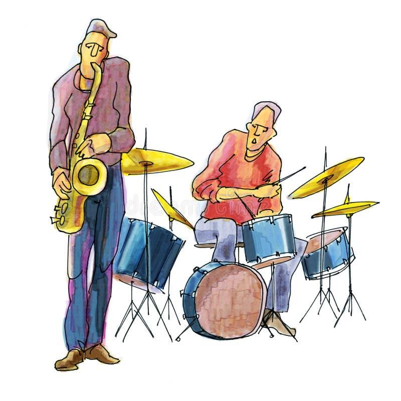 Игроки джаза иллюстрация штока
