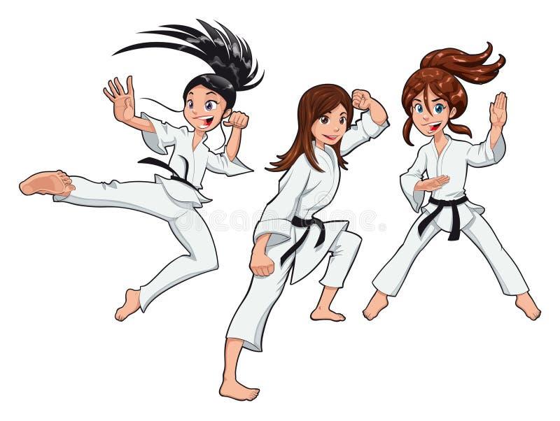 игроки карате девушок молодые иллюстрация штока