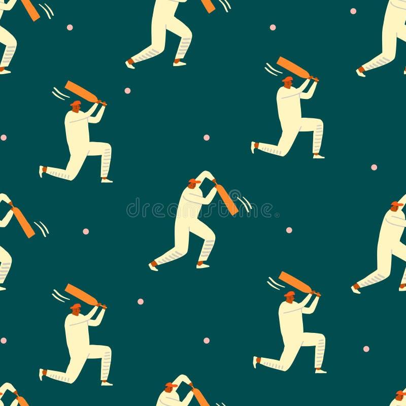 Игроки сверчка играя игру на стадионе Картина в стиле фанк персонажей из мультфильма спорта безшовная в векторе стоковые фотографии rf