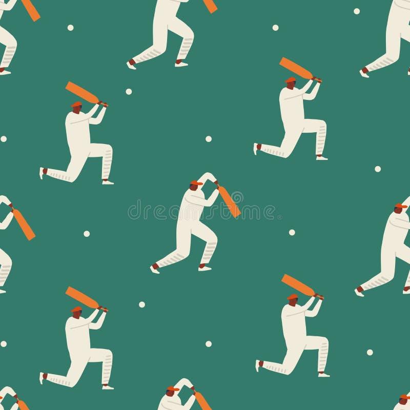 Игроки сверчка играя игру на стадионе Картина в стиле фанк персонажей из мультфильма спорта безшовная в векторе стоковая фотография