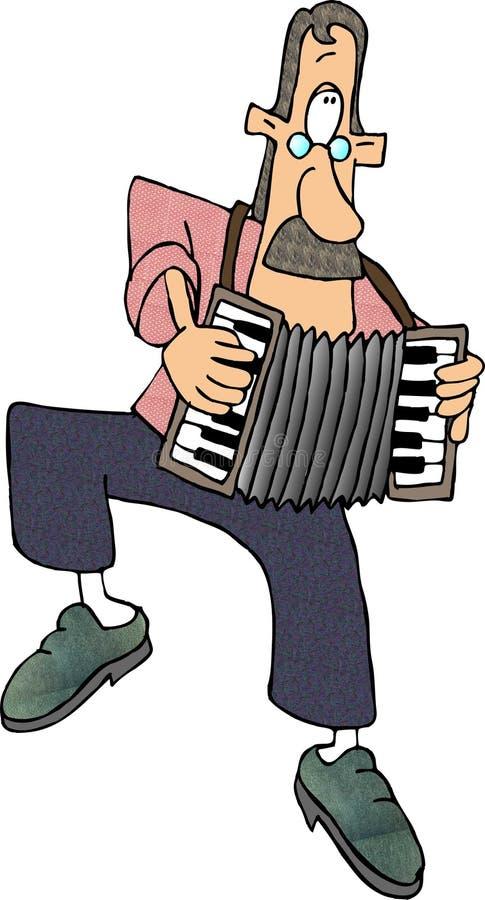 игрок аккордеони иллюстрация вектора