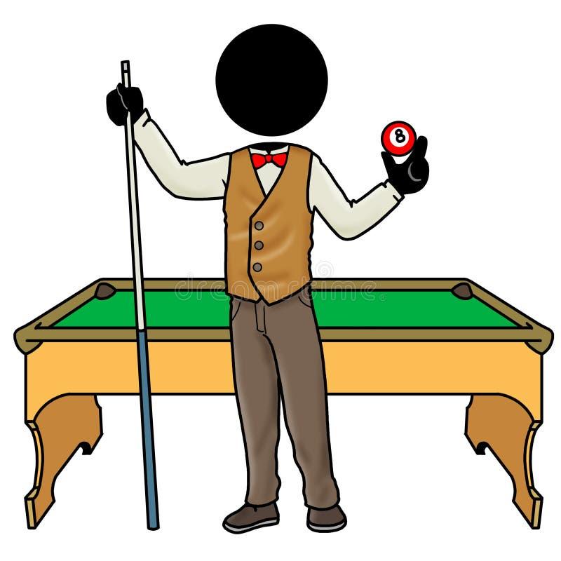 игрок биллиарда иллюстрация вектора