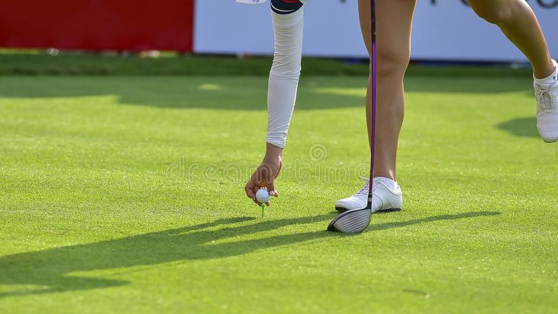Игрок в гольф нажимает шар для игры в гольф гольф-клубом от коробок тройника на поле для гольфа в игре конкуренции стоковые изображения