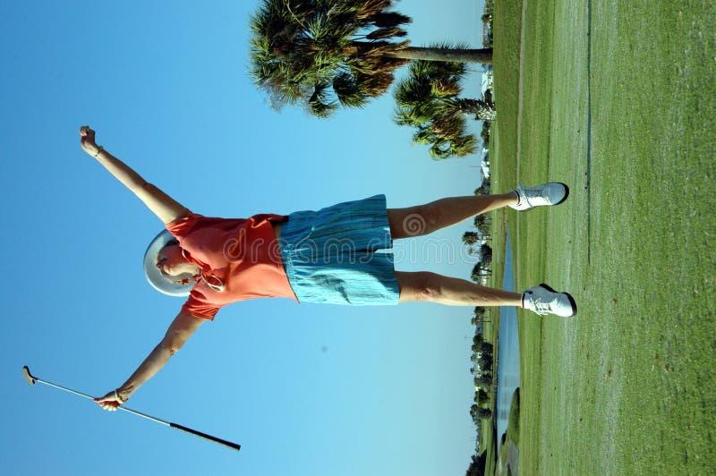 игрок в гольф радостный стоковая фотография