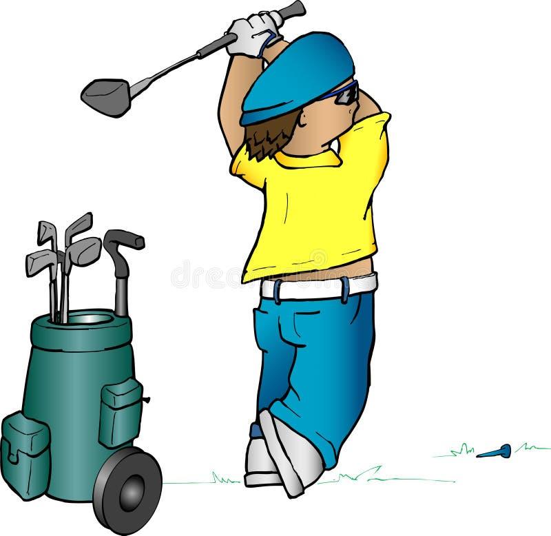 игрок в гольф шаржа иллюстрация вектора