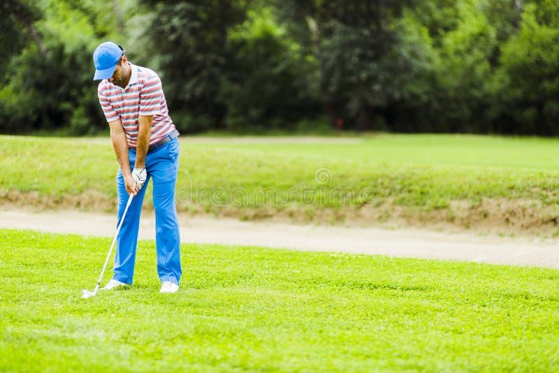 Игрок в гольф практикуя и концентрируя перед и после съемкой стоковая фотография