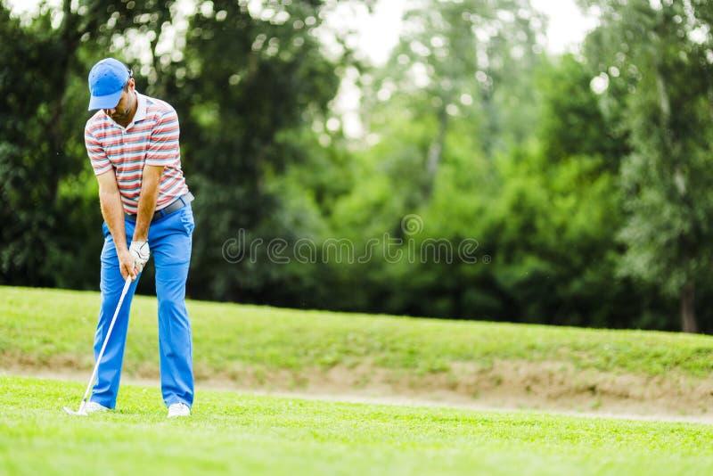 Игрок в гольф практикуя и концентрируя перед и после съемкой стоковое изображение