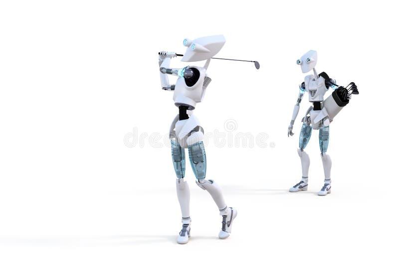 Игрок в гольф робота иллюстрация вектора