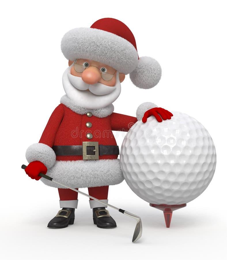 игрок в гольф 3d Санта Клауса стоковое фото