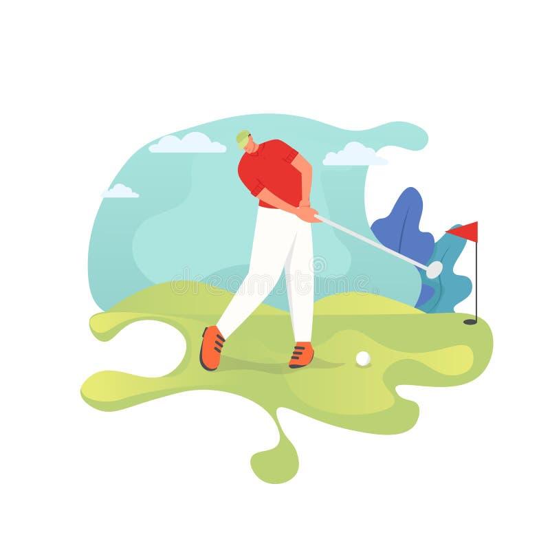 Игрок гольфа, иллюстрация дизайна стиля вектора плоская иллюстрация штока