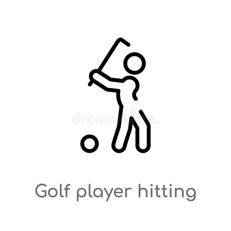 игрок гольфа плана ударяя значок вектора изолированная черная простая линия иллюстрация элемента от концепции спорт Editable вект иллюстрация штока