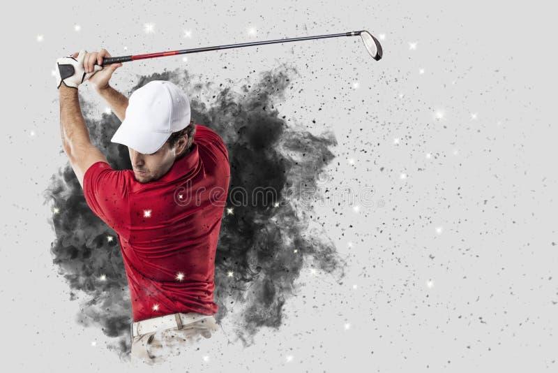 Игрок гольфа приходя из взрыва дыма стоковые изображения rf