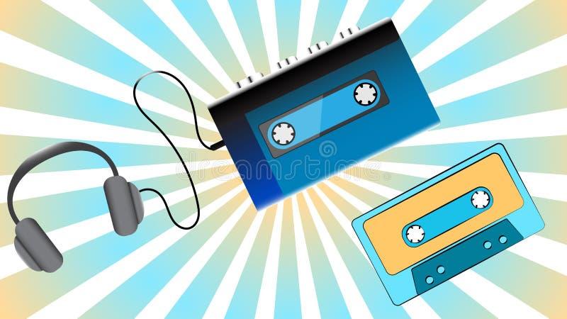 Игрок кассеты музыки голубого старого ретро винтажного битника портативный тональнозвуковой для магнитофонных кассет от 80 ` s, 9 иллюстрация штока