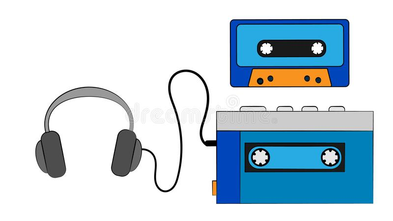 Игрок кассеты музыки голубого старого ретро винтажного битника портативный тональнозвуковой для магнитофонных кассет от 80 ` s, 9 иллюстрация вектора