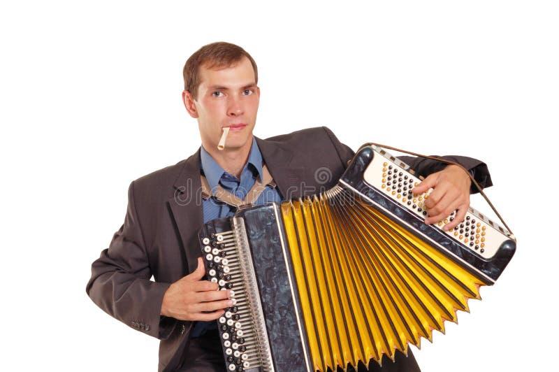игрок кнопки аккордеони стоковая фотография rf