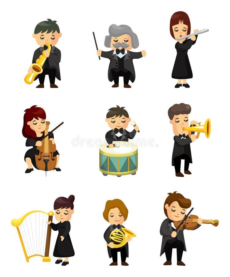 игрок оркестра нот иллюстрация вектора